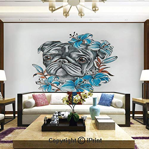 Mural Wall Art Photo Decor Wall Mural for Living Room or Bedroom,Cute Dog Face with Floral Arrangement with Beautiful Flowers Animal Fun Illustration Decorative,Home Decor - 100x144 inches