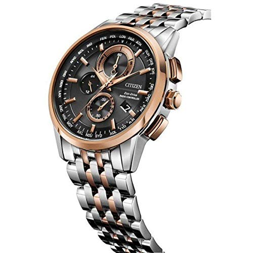 Eco Drive World Mens Timer - Citizen Eco-Drive Men's World Chronograph A-T Two-Tone Rose Gold Watch