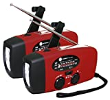 Ambient Weather WR-088-X2-KIT Emergency Solar Hand Crank AM/FM/NOAA Weather Radio, Flashlight, Cell Phone Charger 2 Pack
