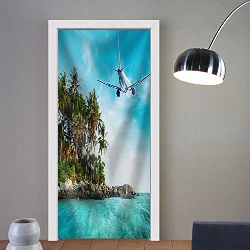 Gzhihine custom made 3d door stickers Airplane Flying over Amazing Ocean LaUIFcape with Tropical Island. Thailand Travel Destinations Fabric Home Decor For Room Decor 30x79 by Gzhihine