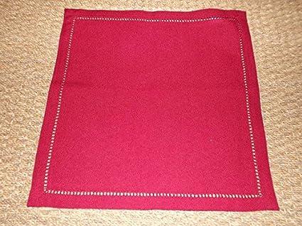 Boite-a-cadeaux Juego de 6 toallas infroissables rojo Uni borde vainica 40 x 40 cm Simla: Amazon.es: Hogar
