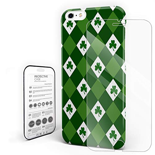 (Green and White Grid Pattern St Patrick's Day Shamrocks Phone Case Compatible with iPhone 6 and iPhone 6s, Slim Shock Absorption Hard Plastic Phone Cover with Tempered Glass Screen Protector)