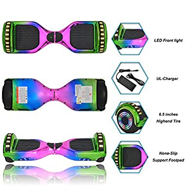 King Sports Unique Design Self-Balancing Hoverboard UL2272 Certified Electric Scooter (Rainbow-4)