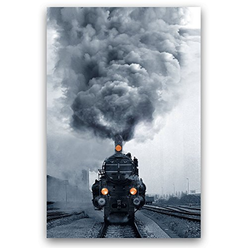 Studio 500, Canvas Wall Art - Locomotive Steam Train w/Orange Headlights in Black & White, Global Collection, 32