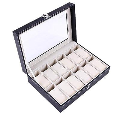 Ohuhu 12-Slot Leather Watch Box / Jewelry Display Storage Organizer Box