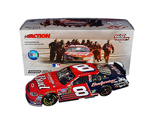 (AUTOGRAPHED 2005 Dale Earnhardt Jr. #8 Budweiser/MLB Baseball All-Star Game CHICAGOLAND WIN (Raced Version) Rare Signed Action 1/24 NASCAR Diecast Car with COA (1 of only 4,884 produced!))