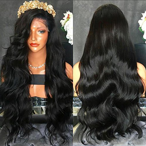 Carina Hair Virgin Remy Brazilian Hair Body Wave Hair Glueless Full Lace Wig Size:20Inch (Black Long Wig With Two Braids)