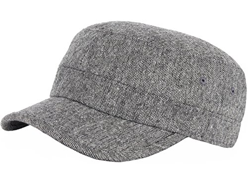 RaOn A123 Homespun Harris Donegal Tweed Pattern Fabric Army Cap Cadet Military Hat (Gray)