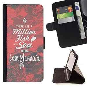 BullDog Case - FOR/HTC Desire 820 / - / mermaid red dating motivational love /- Monedero de cuero de la PU Llevar cubierta de la caja con el ID Credit Card Slots Flip funda de cuer