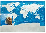 Scratch Off World Map By Trip Fix: Personalized Travel Poster, Blue And Silver Colored, Detailed And Educational Adventure Tracker, Divided USA States, Unique Gift, Home Decor, Geography Teacher Tool