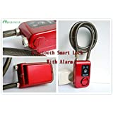 anti-theft bluetooth smart lock Cable Bike Lock - APP control waterproof lock with light and alarm (red)