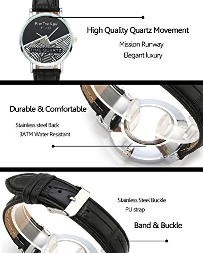 Top Plaza Unisex Simple Casual Silver Tone Analog Watch Geometric Pattern No Number Dial PU Leather Strap Quartz Watch(Pack of 3) by Top Plaza (Image #4)