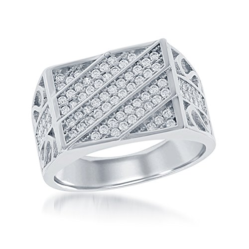 Men's Sterling Silver Micro Pave CZ Designed Ring (Size 9)