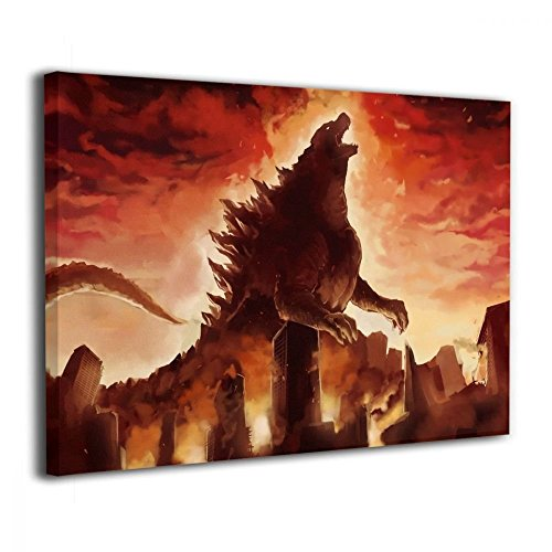 Figures Framed Art - Little Monster Godzilla Angry Fire Burning Framed and Stretched Pictures On Canvas Home Decor Funny Art for Kids Bedroom Bathroom