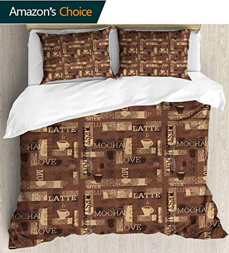 (shirlyhome Coffee Kids Quilt 3 Piece Bedding Set,Cafeteria Pattern with Hot Mocha Latte Milk Love Typography on Scribble Backdrop Bedding Sets,1 Duvet Cover,1 Pillowcase 80
