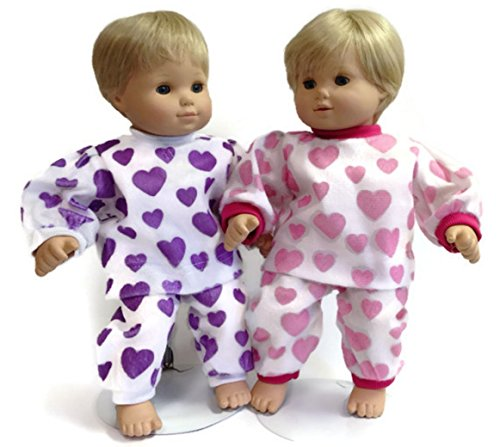 Pink Heart Boutique - Doll Clothes Fits Bitty Baby and Bitty Twin and Other 15 Inch Dolls 2 Pajama Sets-Pink Heart & Purple Heart