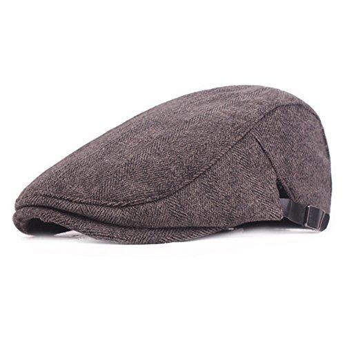 Winter Warm Cotton Flat Cap Gatsby Duckbill Hat Newsboy Ivy Irish Cabbie Scally Cap (Coffee)