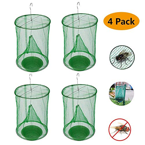 4 Pack Ranch Fly Trap | Most Effective Trap Ever Made with Fishing Apparatus | Food Bait Flay Catcher for Outdoor, Family Farms, Parks