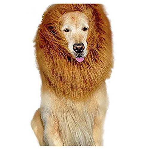 [Seeduck FBA Shipment Lion Wig for Dog Large Pet Festival Party Fancy Lion Hair Dog Clothes Dress (Light] (Dog Lion Costume Large)