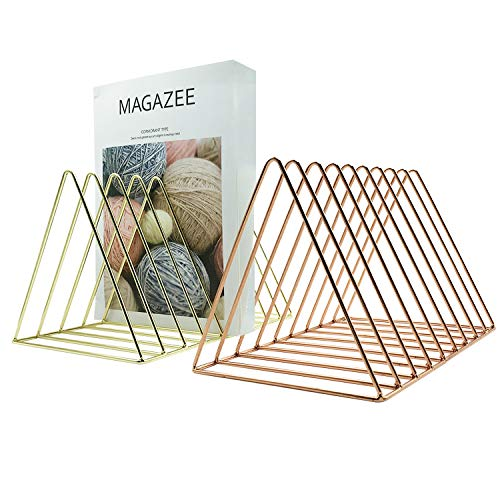 Reliancer File Organizer Triangle Iron Desktop Storage Book Rack Bookshelf Copper Magazine Newspaper Holder Art Desktop Organizer Wire Collection 9 Section for Office Home Decoration (Gold) (Decorative Holder File)