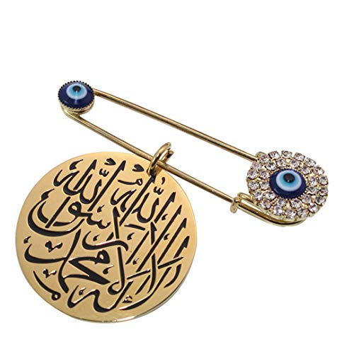 Engraved Stainless Steel Scarf Hijab Brooch Yellow Gold-color
