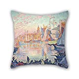 Uloveme Throw Cushion Covers Of Oil Painting Paul Signac - The Port Of Saint-Tropez,for Husband,couples,boy Friend,club,lover,monther 20 X 20 Inches / 50 By 50 Cm(each Side)