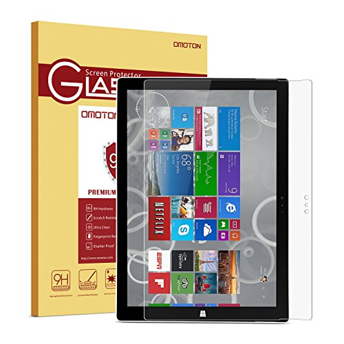 3 Protectors Premium Screen (Surface Pro 3 Screen Protector, OMOTON Tempered Glass, [9H Hardness] [Crystal Clear] [Scratch-Resistant] [Easy Installation] Perfect for Microsoft Surface Pro 3, 12 inch)