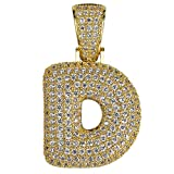 HECHUANG Micropave Simulated Diamond Iced Out Bling Custom Bubble Letters Pendant with Rope Chain (D Gold, 24)