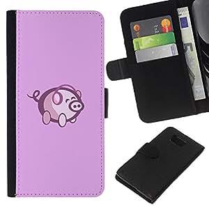 LECELL--Cuero de la tarjeta la carpeta del tirón Smartphone Slots Protección Holder For Samsung ALPHA G850 -- Cute Pink Pig Música --