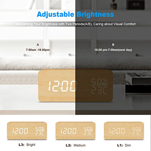 Desk Clock---FiBiSonic Wood Clock White LED Progressively Louder Wakey Alarm Wooden Digital Alarm Clock, Displays Time Date And Temperature,Gift for Kid, Home, Office,Heavy Sleepers