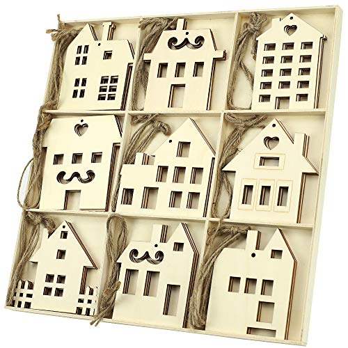 N&T NIETING 27pcs Wooden House Shaped Embellishments Hanging Ornaments for Christmas Decoration, Unfinished Wood Cutouts Ornaments with Hemp Rope for Christmas Tree Decor, Kids Crafts DIY