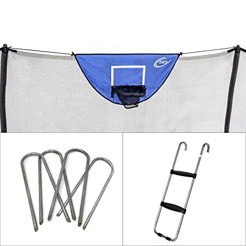 Skywalker Trampolines Accessory Kit with Basketball game, windstakes & wide step ladder