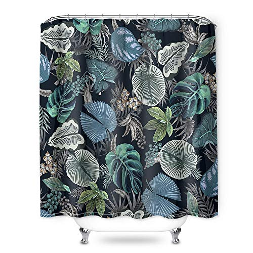 (Teal Green Shower Curtain, 72 Inch Rainforest Shower Curtain and 3D Leaves 100% Polyester Shower Curtain Liner, Shower Curtain Non Toxic for Bathroom & Toilet)