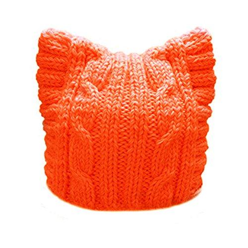 BIBITIME Handmade Knit Pussycat Hat Women's March Parade Cap Cat Ears Beanie (Adult-Orange, Reference)
