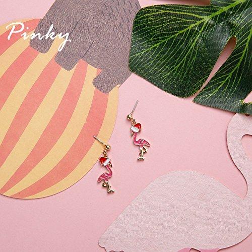 (TKHNE Handmade earrings pink flamingo hat creative drip earrings earrings earrings lovely Christmas)