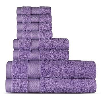 Welhome 100% algodón conjunto 8 pieza toalla (lila); 2 toallas de baño, 2 toallas de mano y 4 Estropajos, lavable a máquina: Amazon.es: Hogar