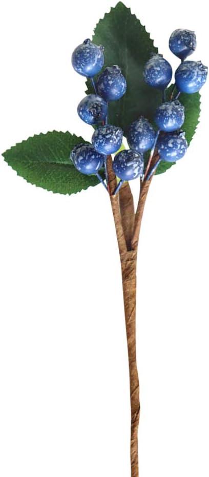 Riverbyland 20 Christmas Picks Blue Christmas Berry Spray 6 Pcs