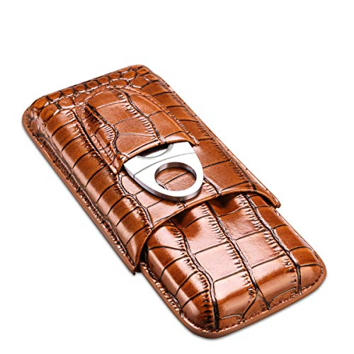 CIGARLOONG Cigar Case Bronze Leather Cigar Travel Humidor Hold 3-Finger with Cigar Cutter
