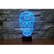 Fding 3d Optical Illusion Visualization LED Art Sculpture Night Lights Desk Lamp with Touch Control for Home Decoe Art Decor- Unique Lighting Effects (Skull)
