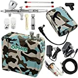 HJLWST OPHIR Adjustable Blue Camouflage Air Brush Compressor with Dual Action Airbrush 3 Tips for Hobby Tattoo Cake