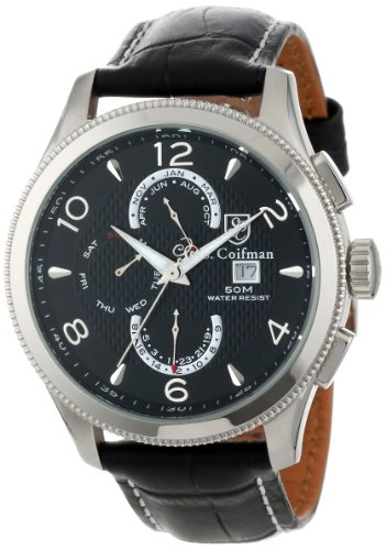 S. Coifman Men's SC0105  Black Textured Dial Black Leather Watch ()
