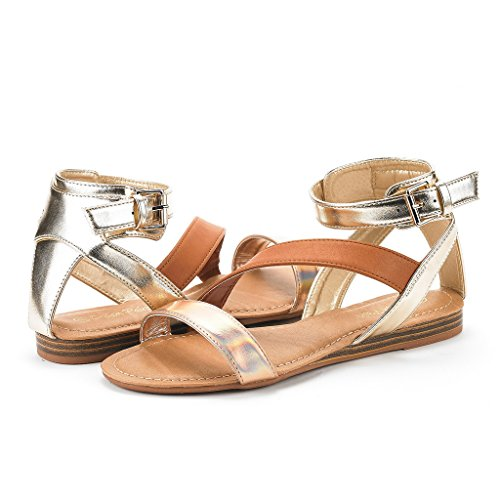 DREAM PAIRS Womens Open Toe Fashion Buckle Crisscross Valcre Ankle Straps Summer Design Flat Sandals Nora-champagne Tan Gold rzp47ThY