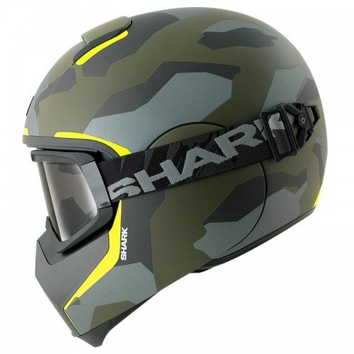 Shark VANCORE Full Face Motorcycle Helmet + GOGGLES WIPEOUT MAT GGY XL (Shark Face Helmet)