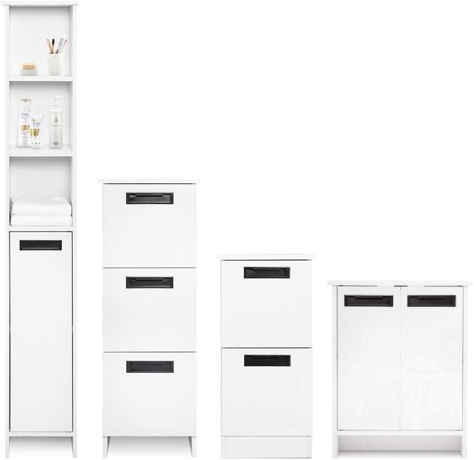 35 x 30 x 68 cm Blanc Bois Meuble de Salle de Bain sur Pieds 2 Tiroirs Brillant Mondeer