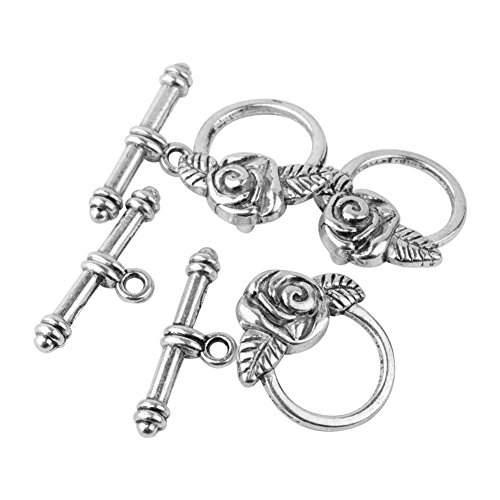 Style Antique Bracelet (Pandahall 10sets Tibetan Style Rose IQ Toggle Clasps for Valentine's Jewelry Making Antique Silver)