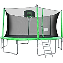 Merax 12-Feet Round Trampoline with Safety Enclosure, Basketball Hoop and Ladder