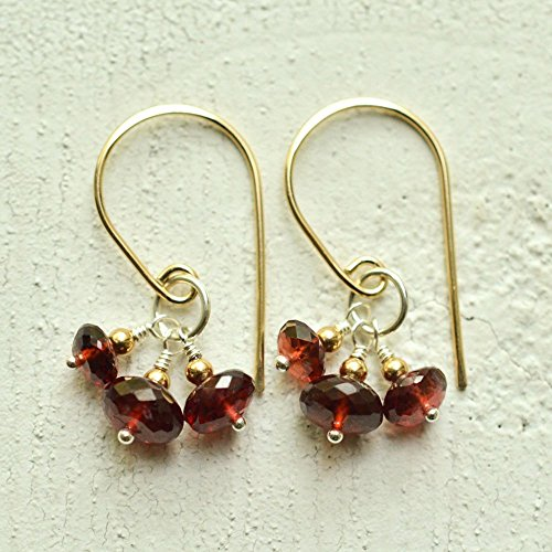 Garnet earrings mixed metal January (Bohemian Garnet Earrings)