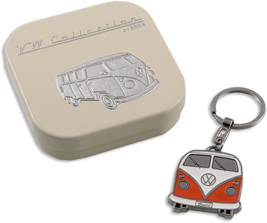 Decorazione Vintage per Mazzo di Chiavi//Zaini//Borse Come Souvenir//Idea Regalo Brisa VW Collection Fronte//Blu Volkswagen Hippie Bus T1 Camper Van Anello Portachiavi in Scatola Regalo