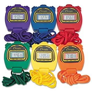 Water Resistant Stopwatches, 1/100 Second, Assorted Colors, 6/Set