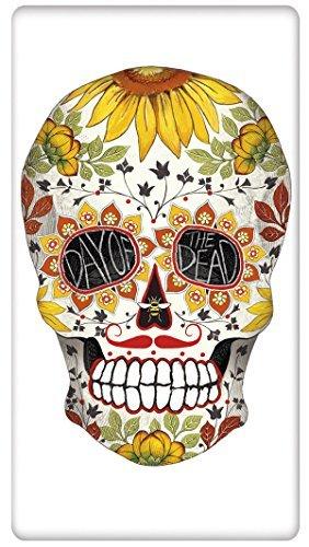 Floral Halloween Spooky Skull 100% Cotton Flour Sack Dish Tea Towel - Mary Lake Thompson 30